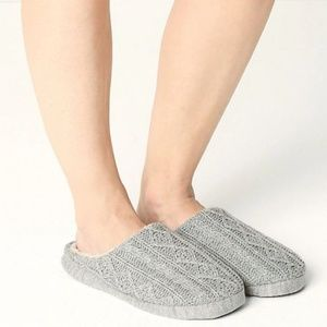 M&S COLLECTION  Cable Knit Mule Slippers Grey